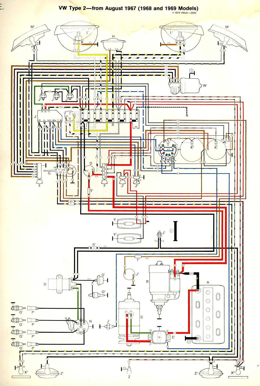 1968 69 bus wiring diagram thegoldenbug com thesamba com type 2 wiring diagrams