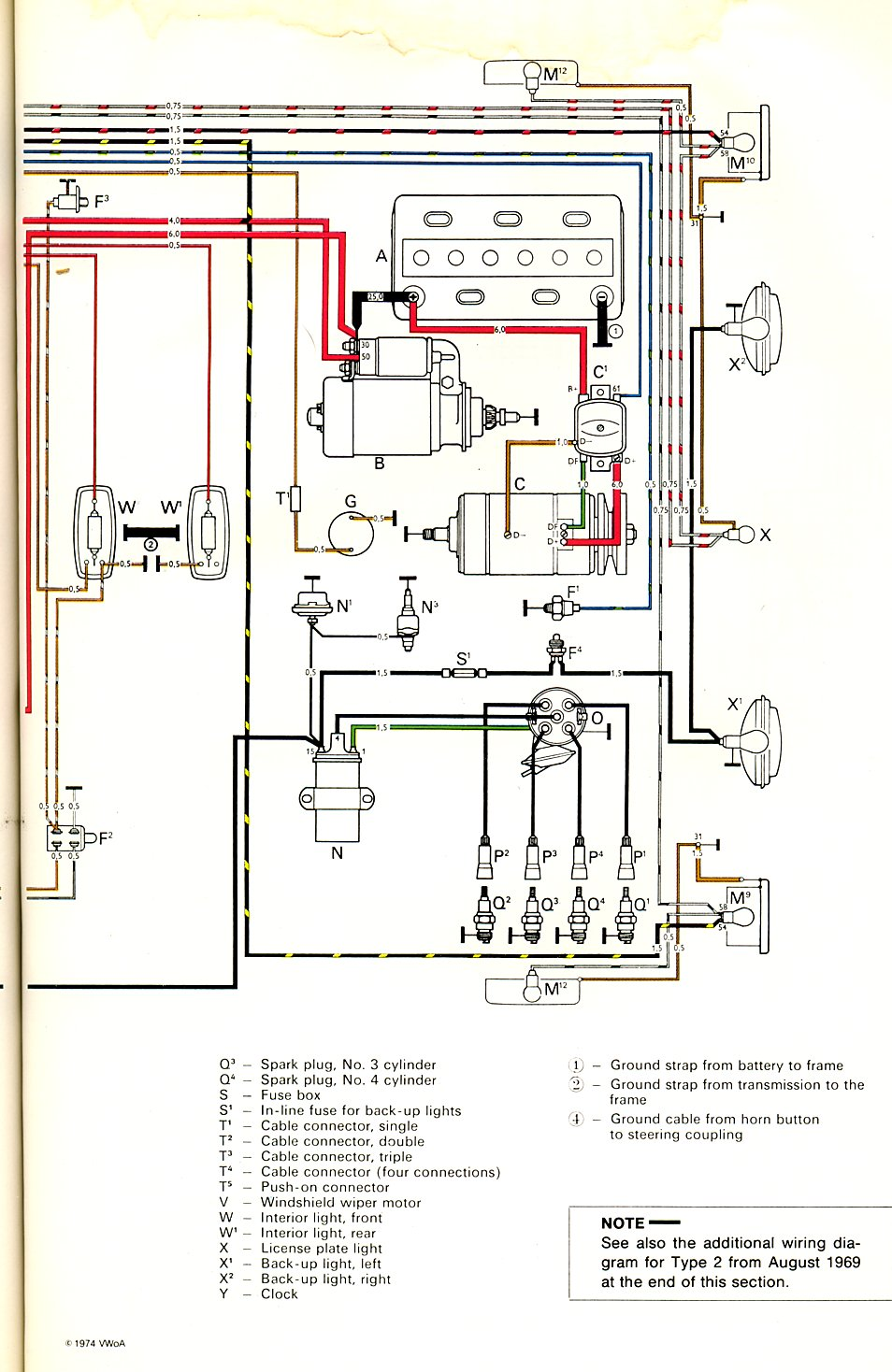 baybus_70b 1970 bus wiring diagram thegoldenbug com Volkswagen Type 2 Wiring Harness at crackthecode.co