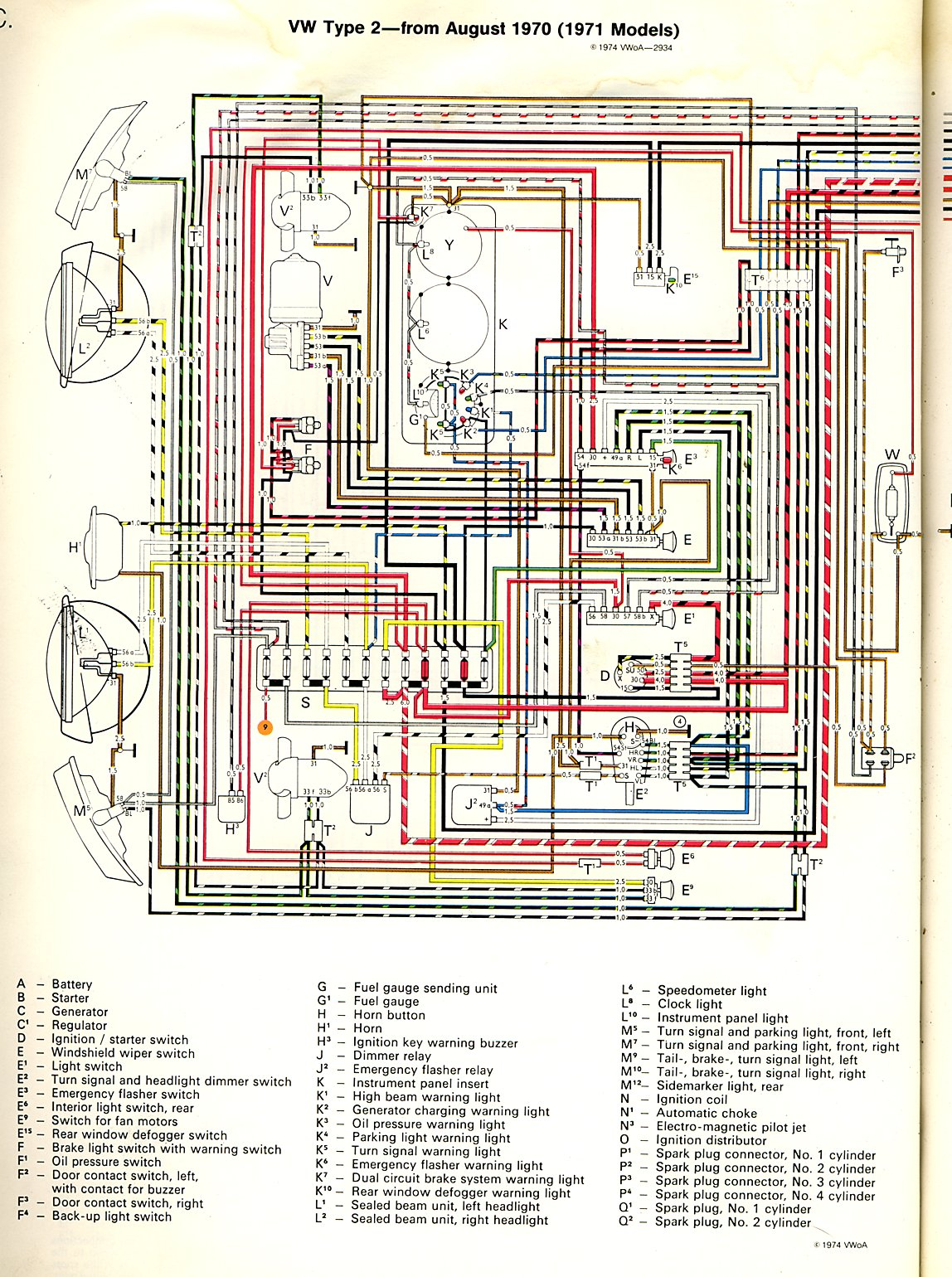 1971 vw bug fuse diagram 1971 bus wiring diagram thegoldenbug com 1971 vw bug wiring diagram #2