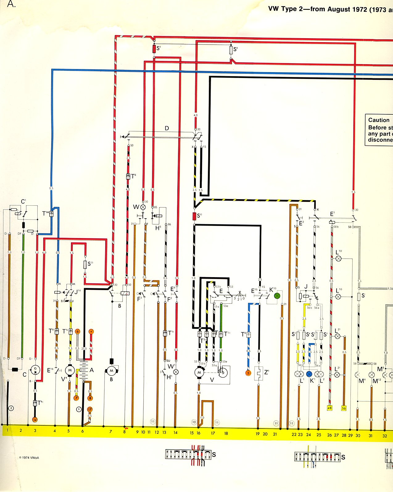 1971 Vw Super Beetle Parts >> 1973-74 Bus Wiring diagram | TheGoldenBug.com