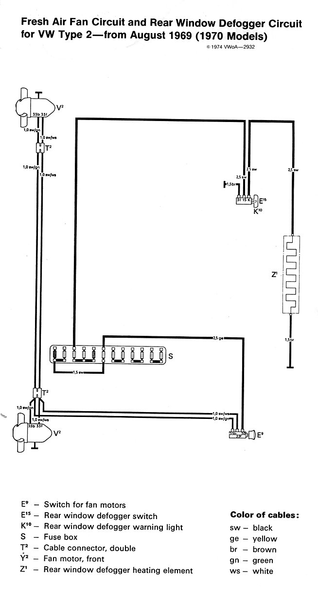 Late Model Bosch Distributor besides Thesamba Type Wiring Diagrams Intended For Vw Beetle Fuse Box additionally Bug A furthermore Baybus Freshairfan Reardefogger together with Bus. on 1970 vw bug wiring diagram