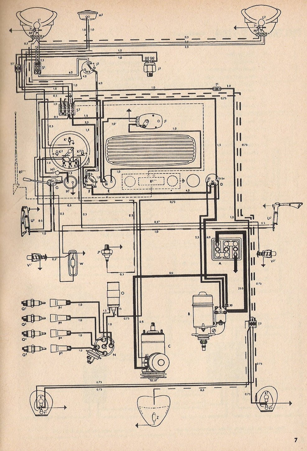 bug_54 1954 beetle wiring diagram thegoldenbug com 1973 super beetle wiring harness at nearapp.co