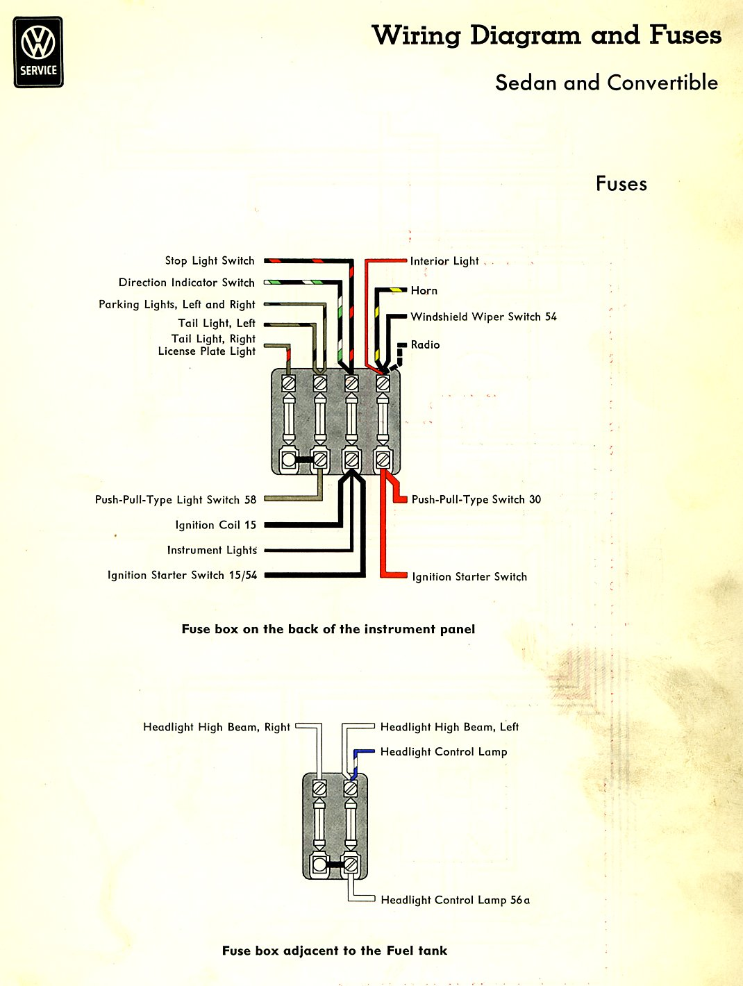 Bug Fuses on 1971 vw super beetle wiring diagram