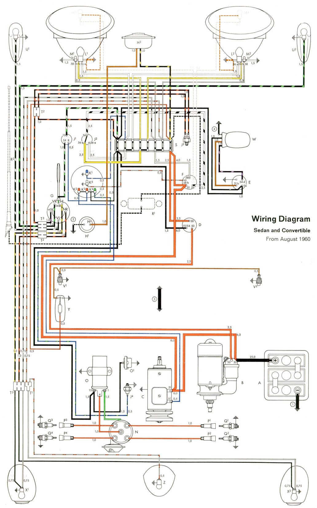 1961 beetle wiring diagram thegoldenbug com 70 VW Wiring Diagram 1961 beetle wiring diagram