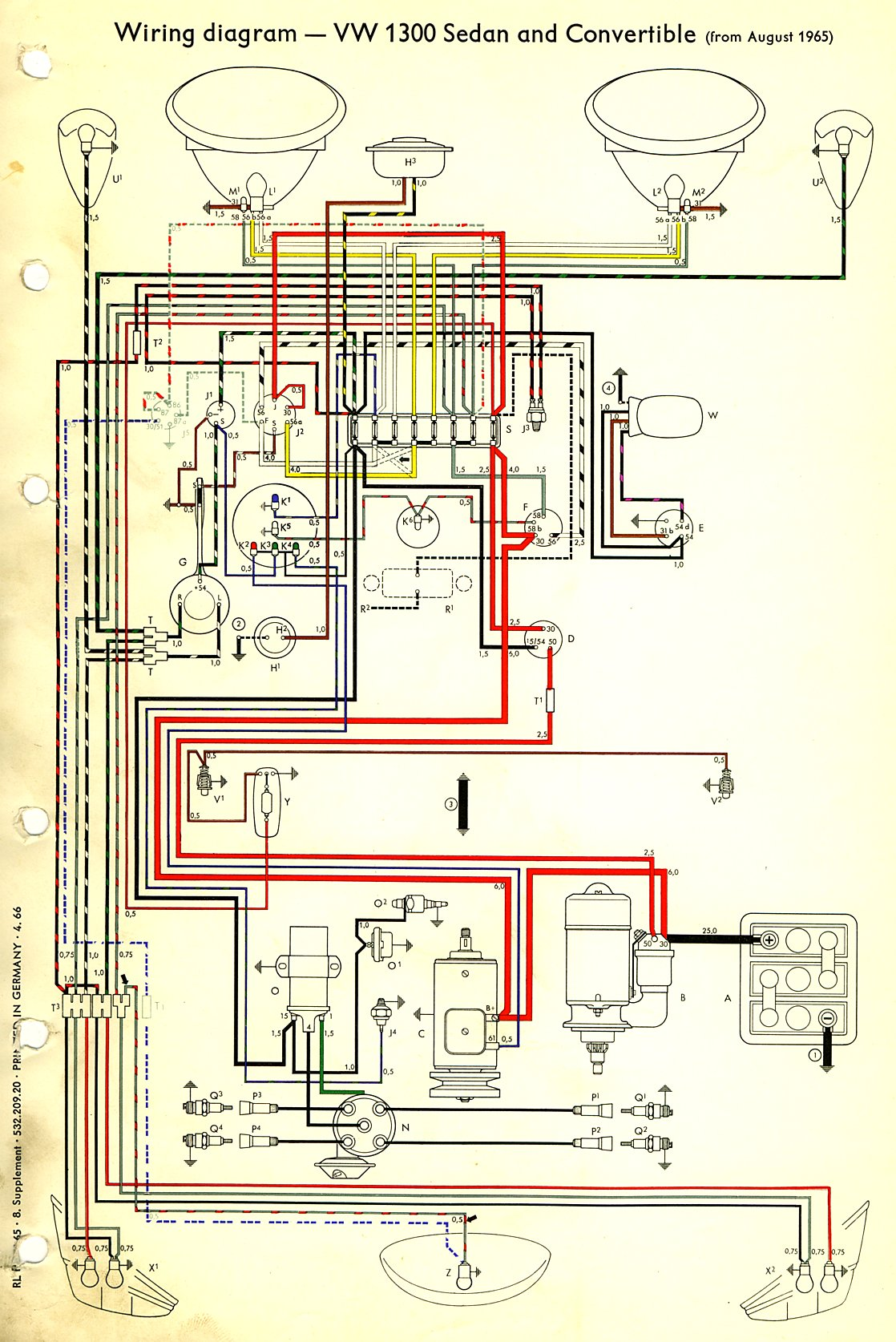 1966 beetle wiring diagram thegoldenbug com VW Beetle Steel Wheels