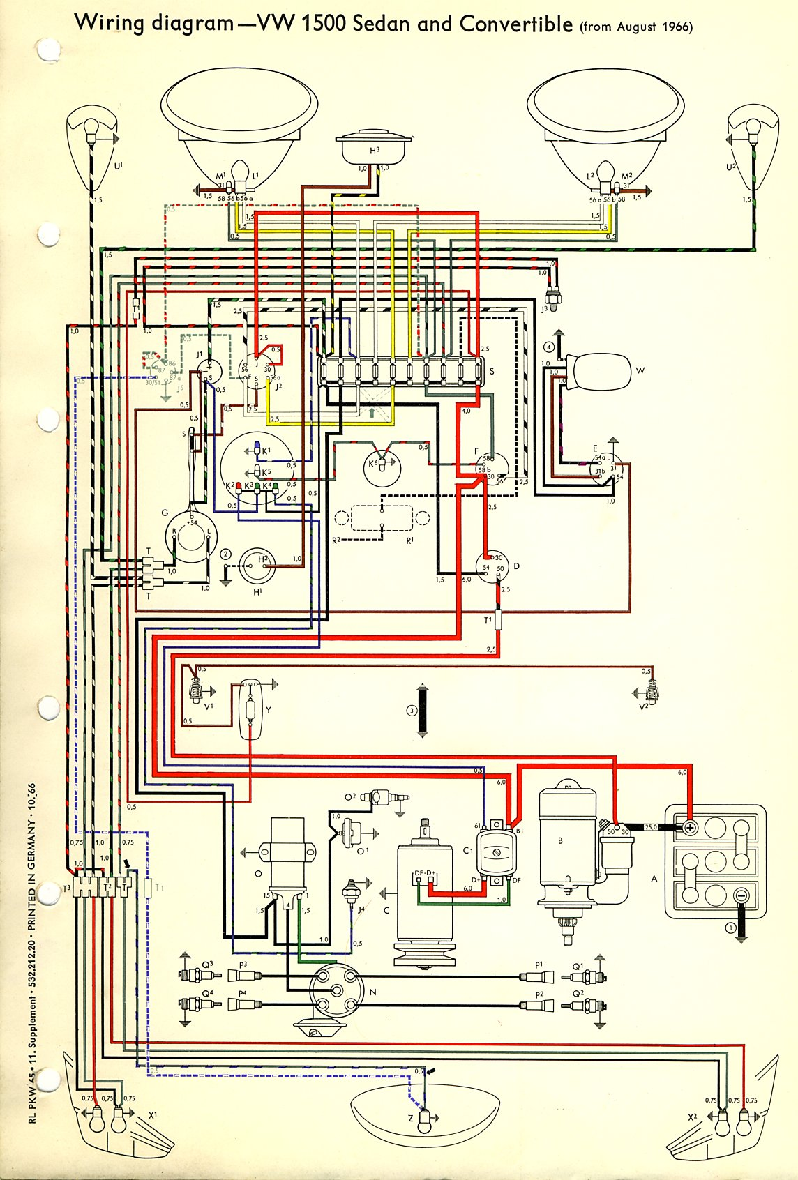 1967 beetle wiring diagram thegoldenbug com 69 VW Generator Wiring Diagram 1969 vw bug engine wiring diagram