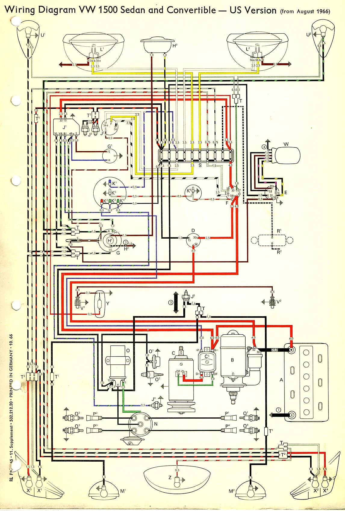 Wiring Diagram For 1967 Vw Beetle : Beetle wiring diagram usa thegoldenbug