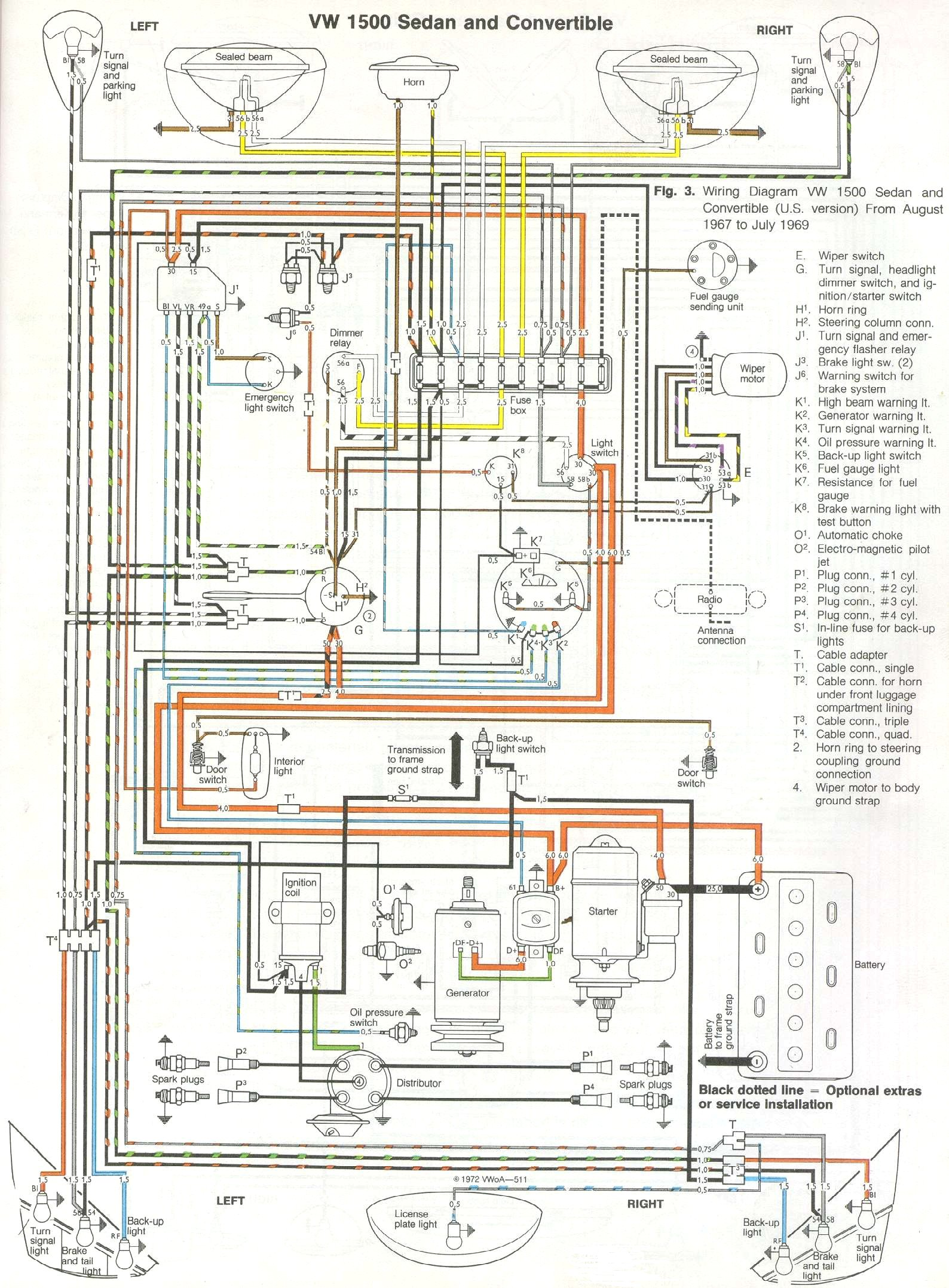 1969 71 beetle wiring diagram thegoldenbug com 1969 VW Beetle Turn Signal Wiring vw bug wiring schematic