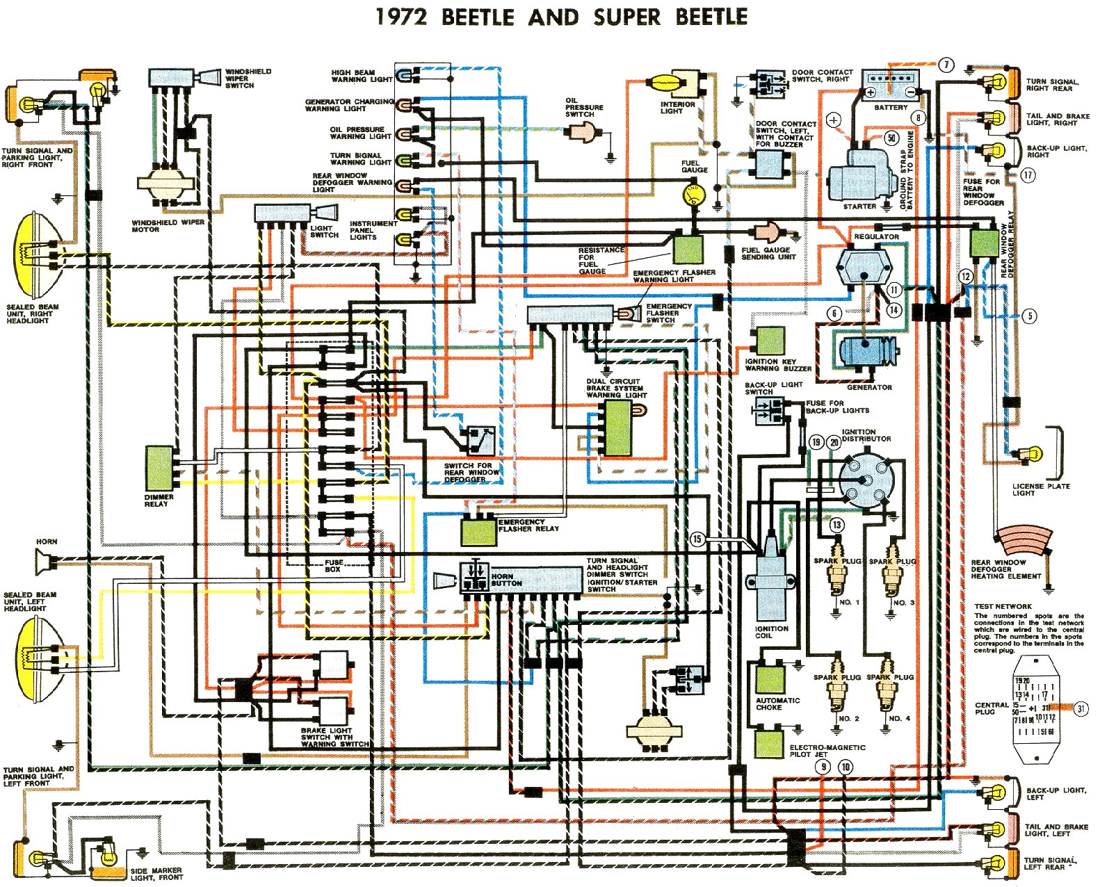 vw bug fuse box diagram 1972 beetle wiring diagram thegoldenbug com 1969 vw bug fuse box wiring