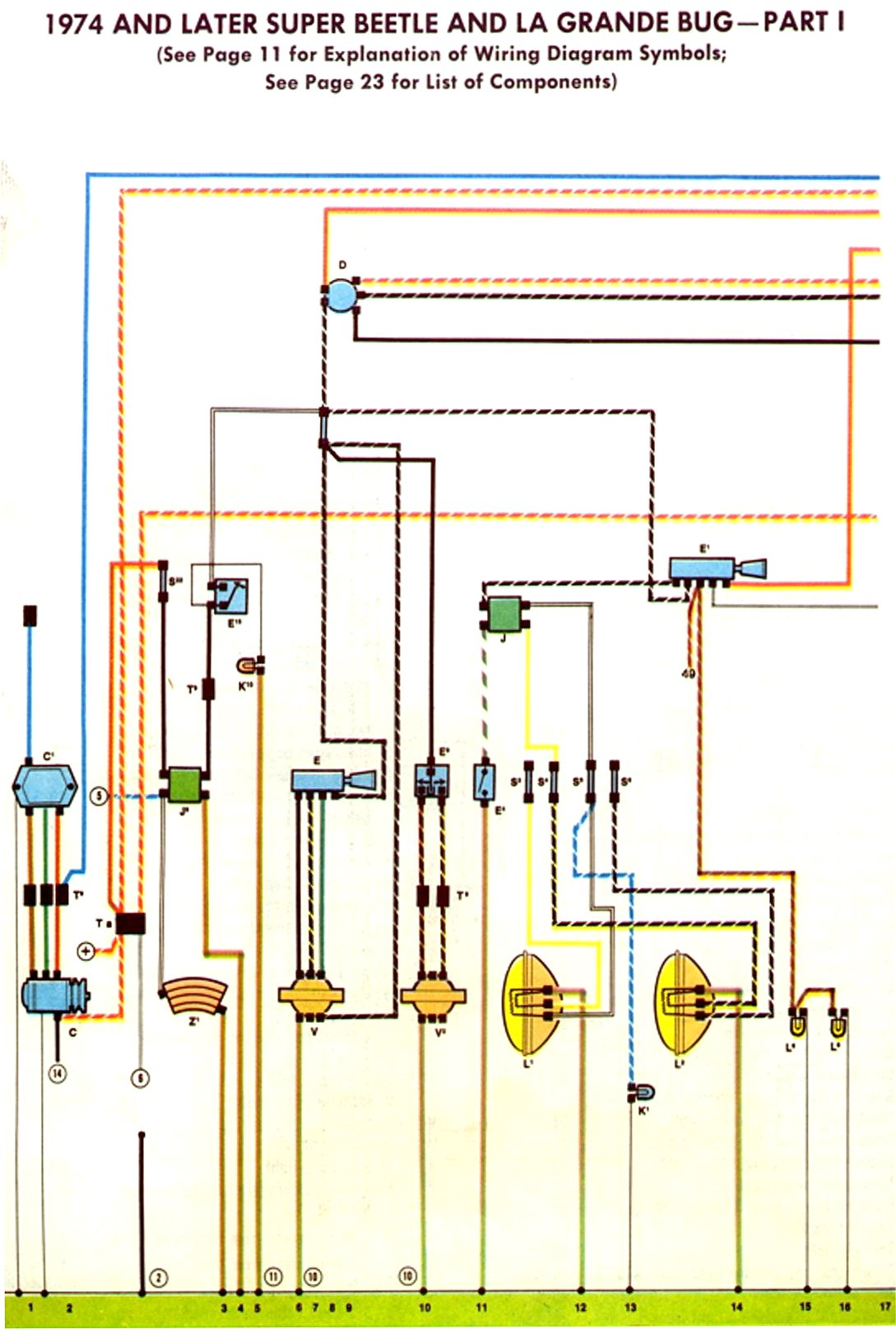 1974-75 super beetle wiring diagram | thegoldenbug.com 1974 volkswagen thing wiring diagram 1974 volkswagen wiring diagrams