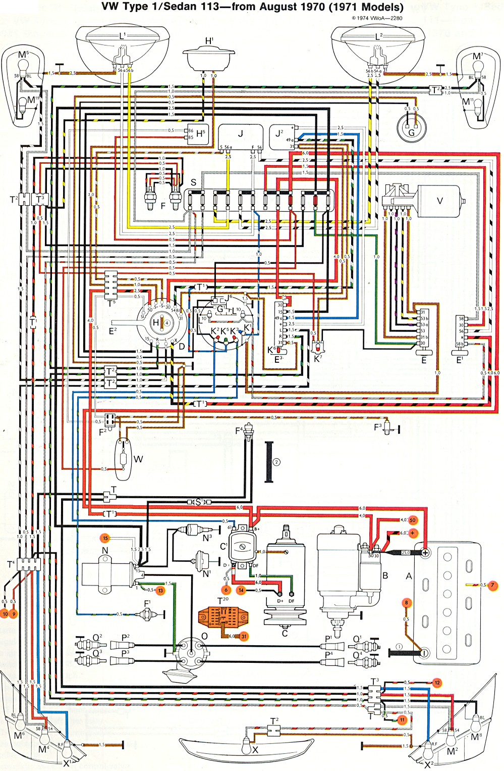 bug_super_71 1971 super beetle wiring diagram thegoldenbug com 1968 vw bug headlight wiring diagram at metegol.co