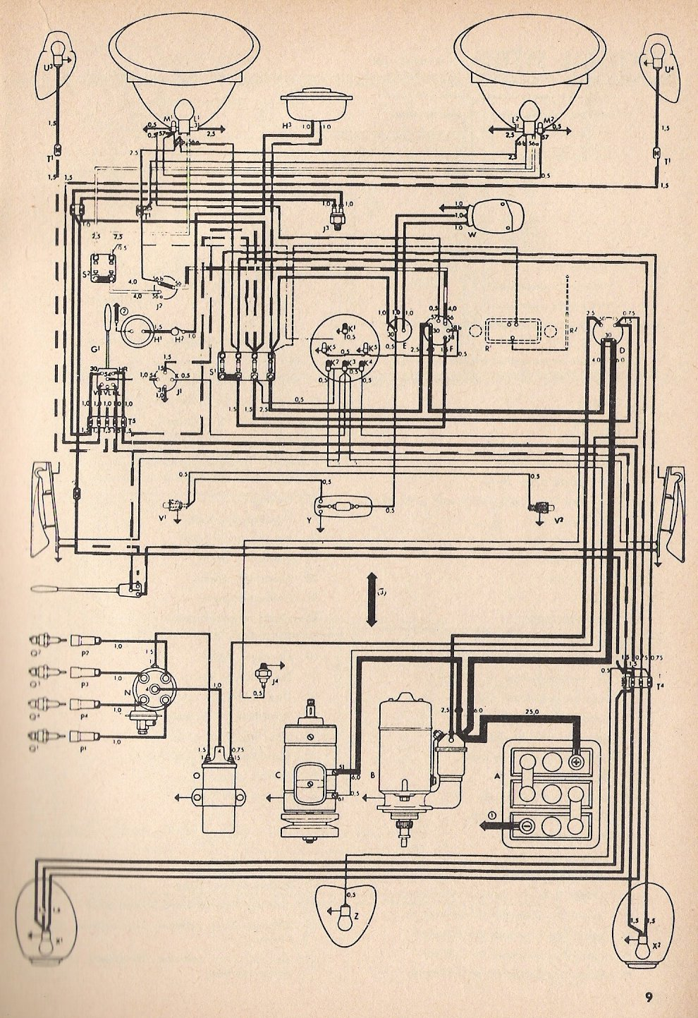 bug_toaug55 1955 beetle wiring diagram thegoldenbug com beetle wiring diagram to fix a/c fan at n-0.co