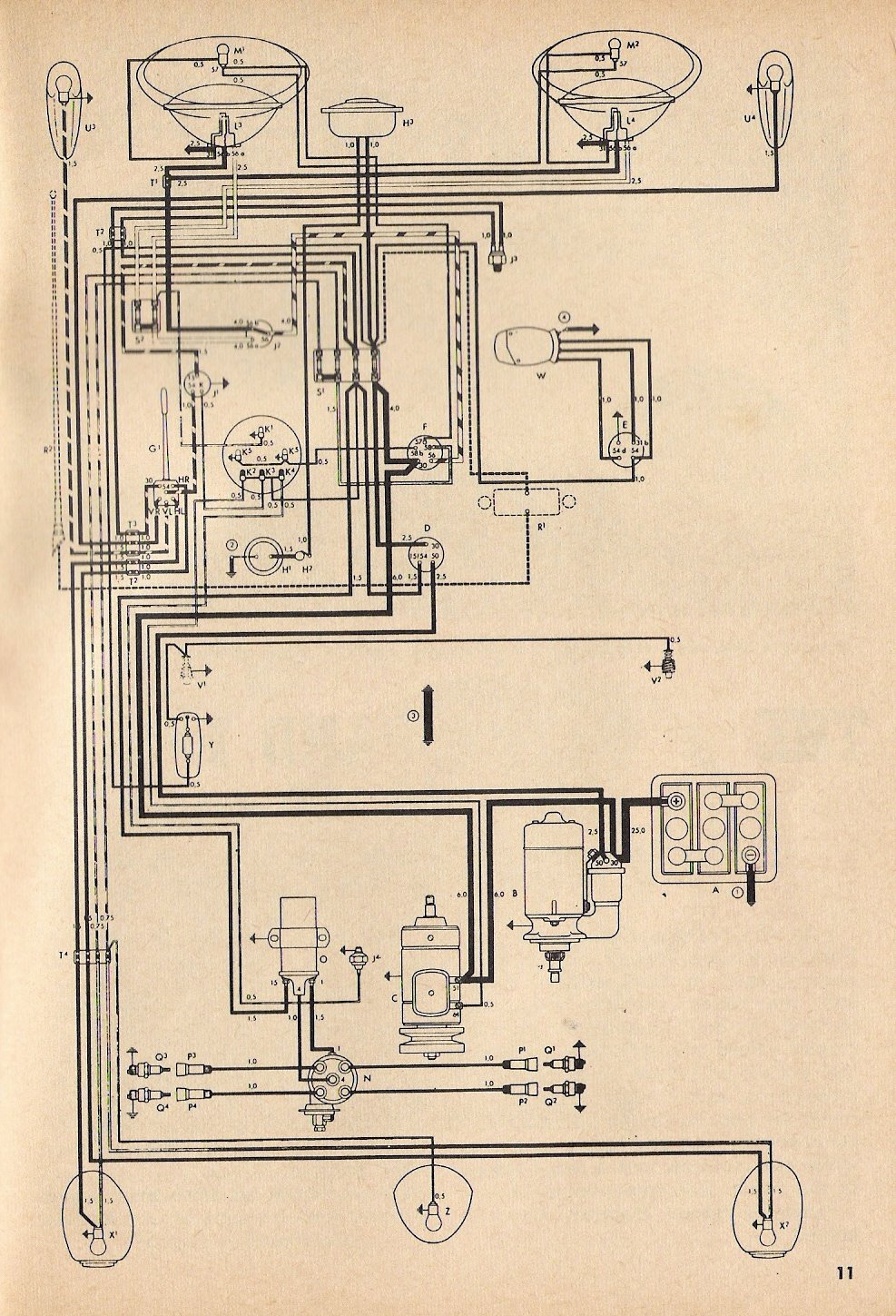 bug_toaug57 1957 beetle wiring diagram thegoldenbug com 1968 vw bug headlight wiring diagram at metegol.co