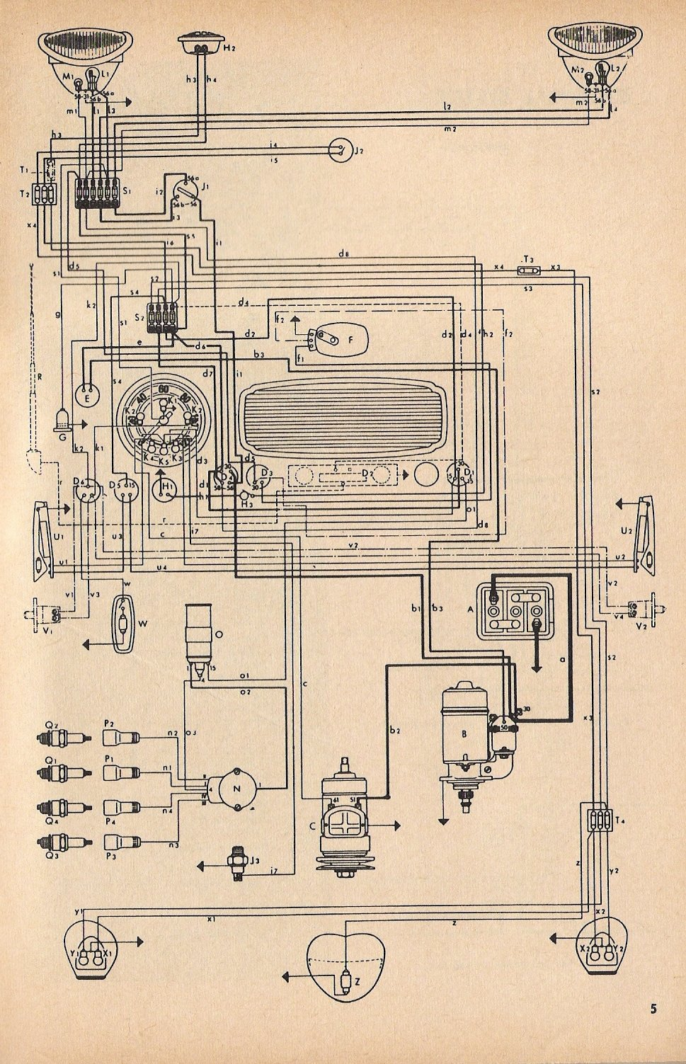 wiring diagram for 1967 vw beetle wiring diagram 1957 chevy 1967 vw beetle 1952-53 beetle wiring diagram | thegoldenbug.com #8