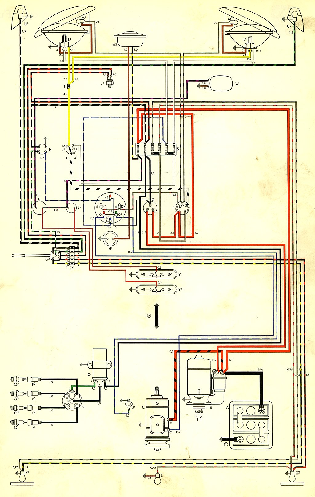 bus_59_USA 1959 bus wiring diagram (usa) thegoldenbug com Volkswagen Type 2 Wiring Harness at crackthecode.co