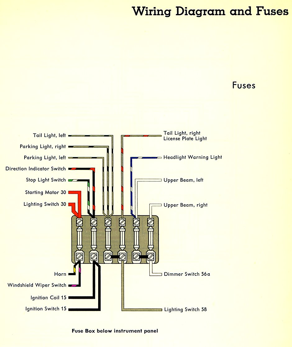bus_59_fuses 1959 bus wiring diagram thegoldenbug com Volkswagen Type 2 Wiring Harness at crackthecode.co