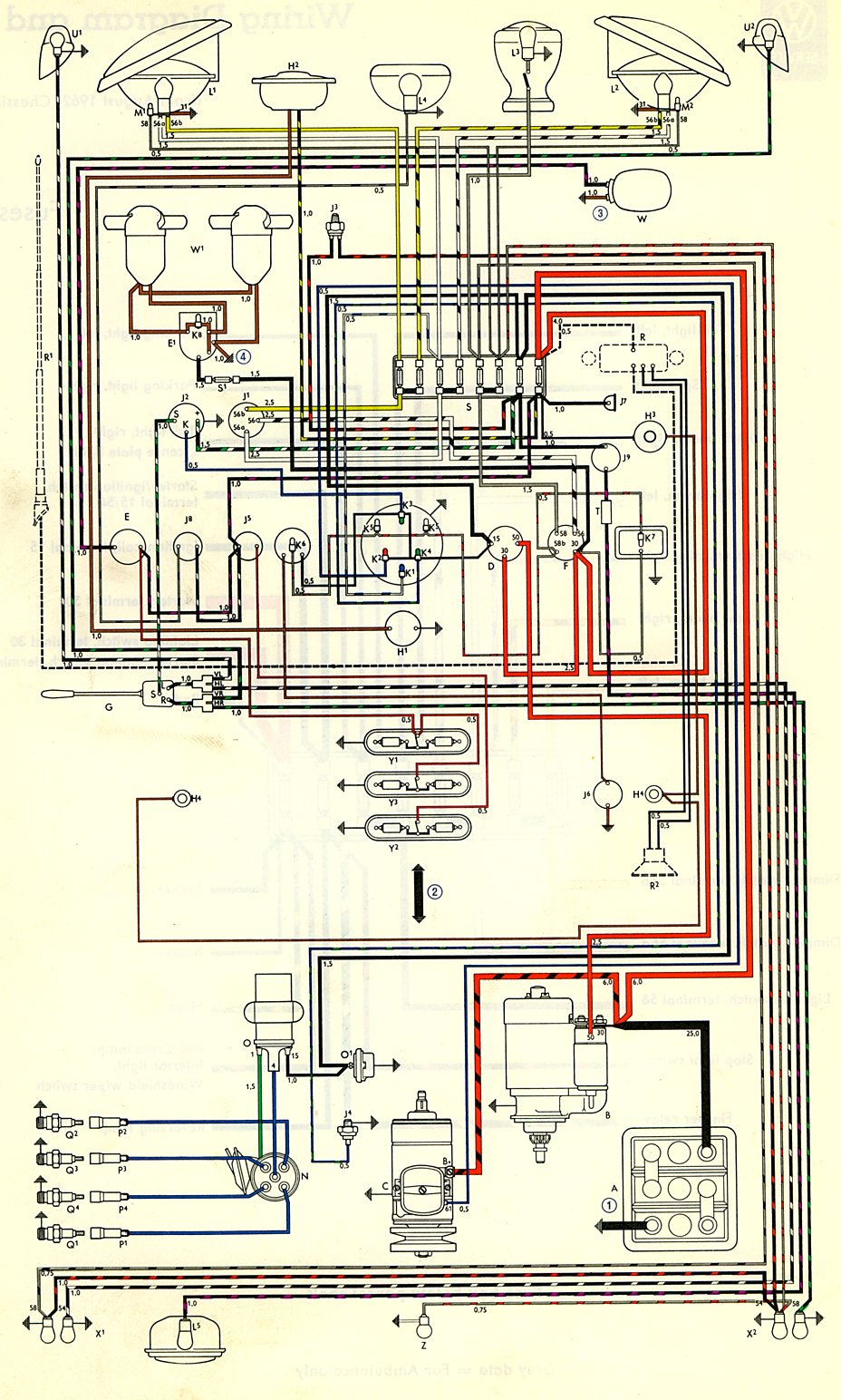 bus_63 1963 bus wiring diagram (usa) thegoldenbug com 1957 vw bug wiring diagram at edmiracle.co