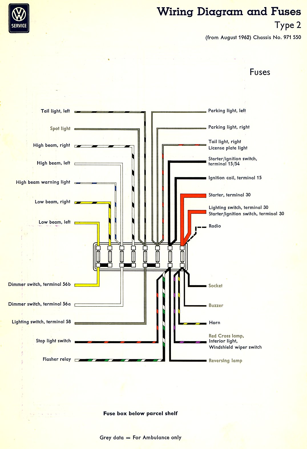 bus_63_fuses 1963 bus wiring diagram thegoldenbug com Volkswagen Type 2 Wiring Harness at crackthecode.co