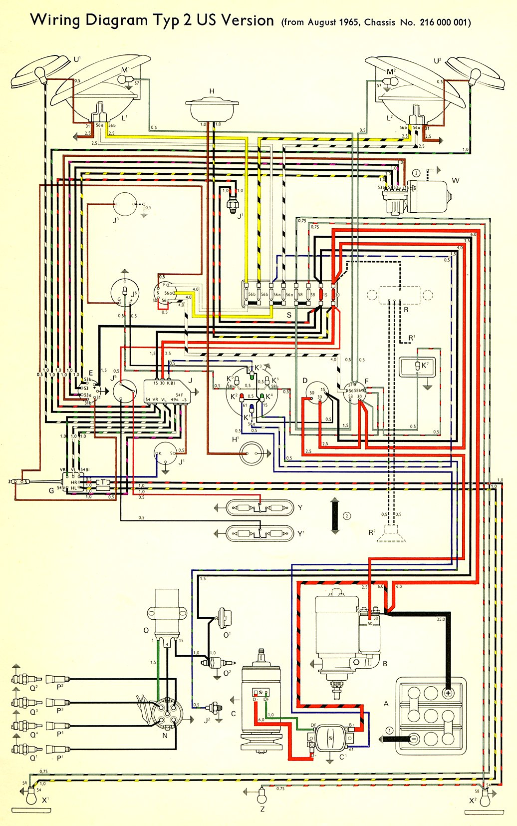 bus_66_USA 1966 bus wiring diagram (usa) thegoldenbug com Volkswagen Type 2 Wiring Harness at crackthecode.co