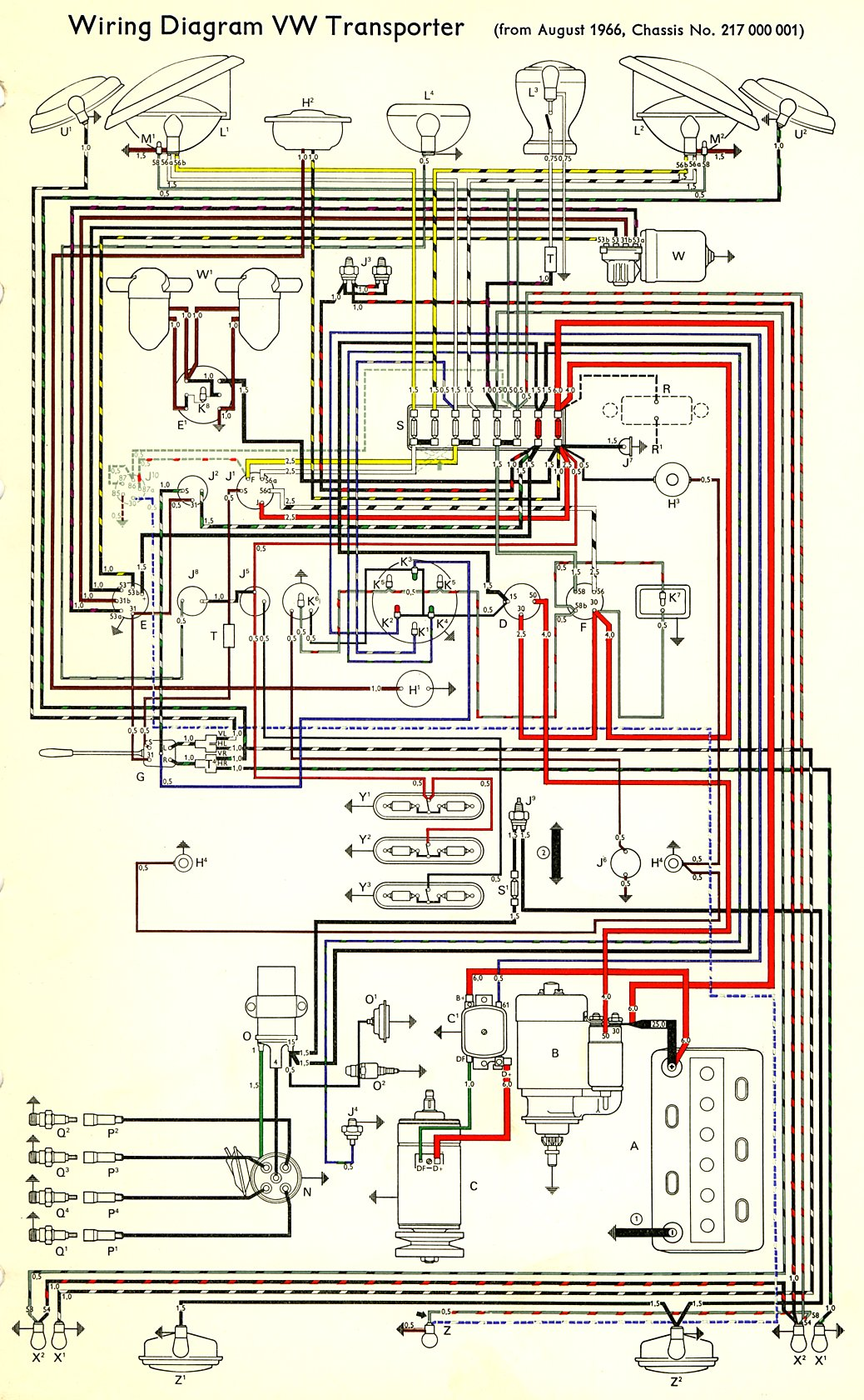 bus_67 1967 bus wiring diagram thegoldenbug com Volkswagen Type 2 Wiring Harness at crackthecode.co