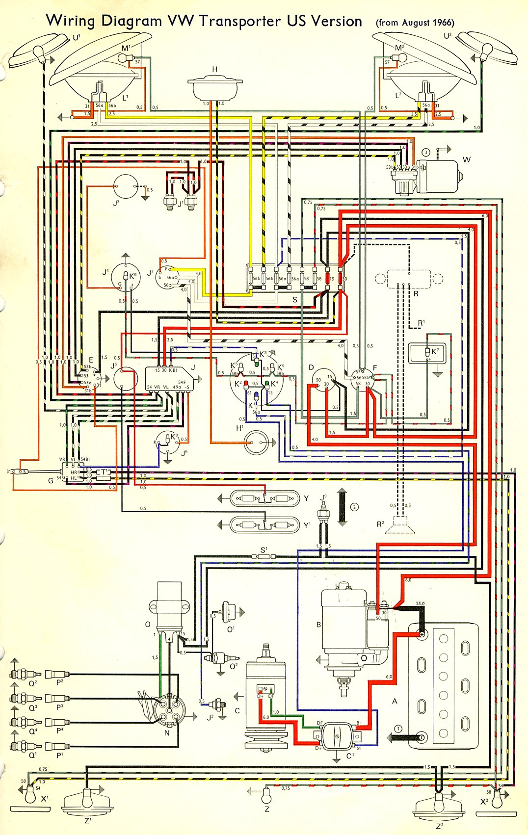 1967 Bus Wiring diagram USA TheGoldenBug com