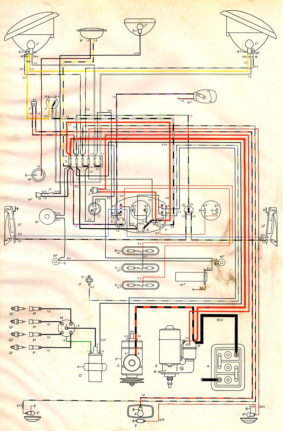 1954 Bus Wiring    Diagram      TheGoldenBug