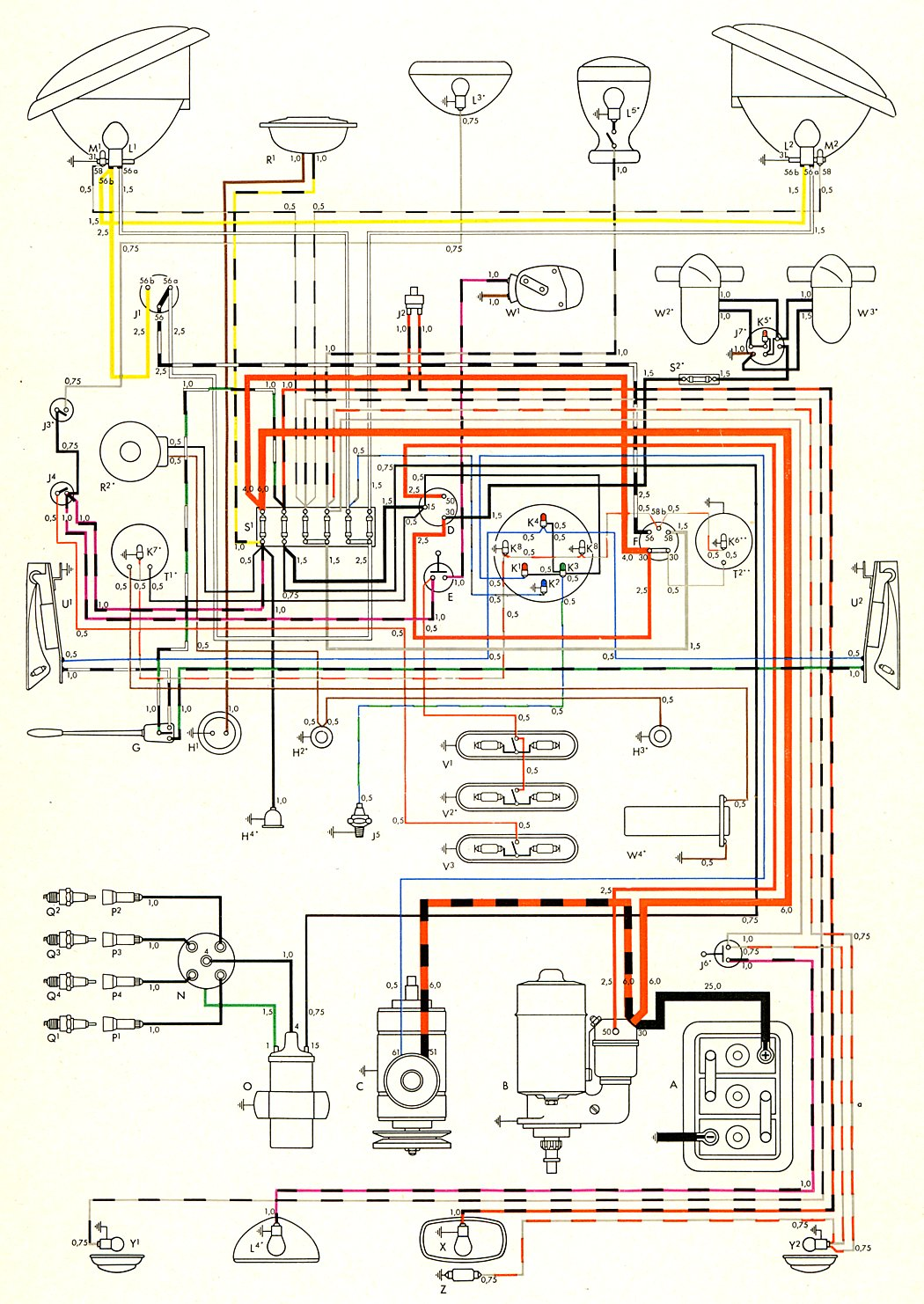 1957 bus wiring diagram thegoldenbug com Volkswagen Engine Diagram 1957 bus wiring diagram